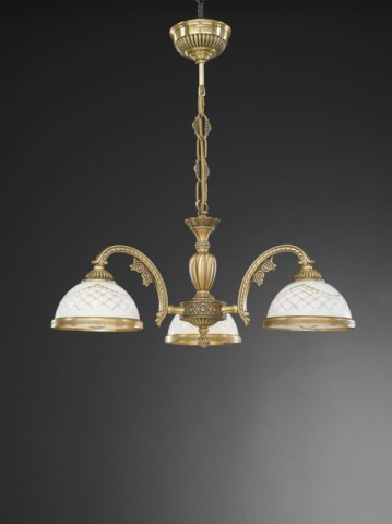 3 lights brass chandelier with engraved white glass