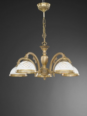 5 lights brass chandelier with engraved white glass