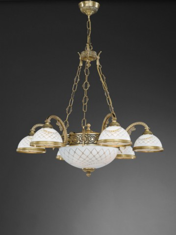 8 lights brass chandelier with engraved white glass