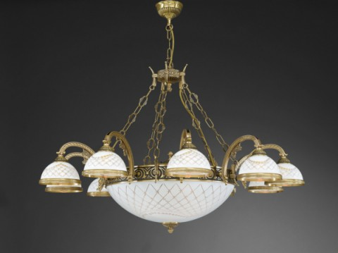 14 lights brass chandelier with engraved white glass