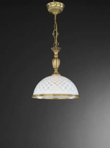 Brass pendant lamp with engraved white glass 28 cm