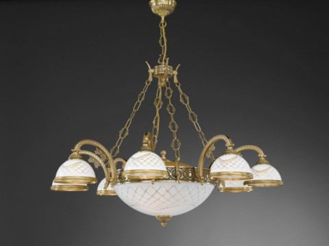 11 lights brass chandelier with engraved white glass