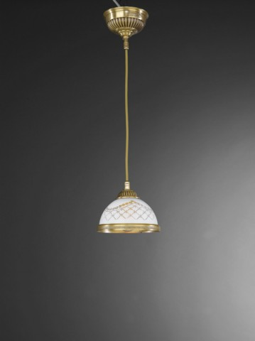 Brass pendant light with engraved white glass 16 cm