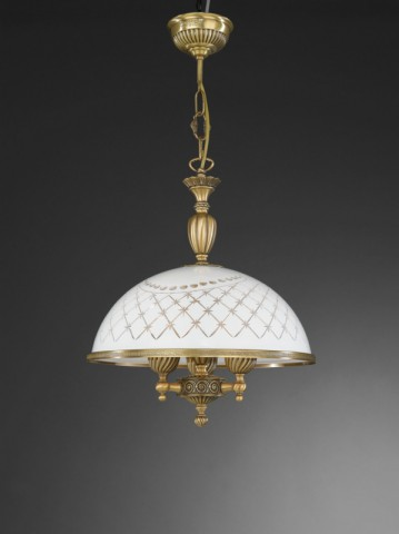 3 lights brass pendant lamp with engraved white glass 38 cm