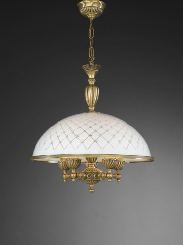 5 lights brass pendant lamp with engraved white glass 48 cm