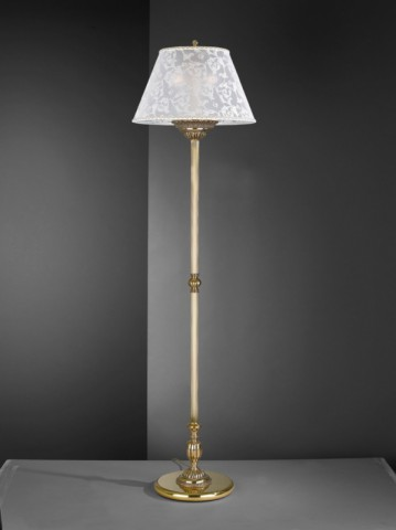 Golden brass floor lamp with fabric lamp shade