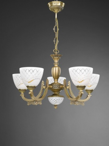 Italian traditional brass pendant lights and chandeliers reccagni 5 lights brass chandelier with white engraved glass facing upward aloadofball Image collections