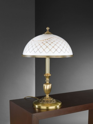 Large brass table lamp with white decorated glass