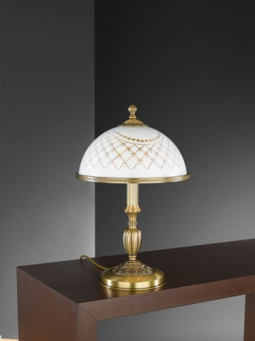Brass table lamp with white decorated glass