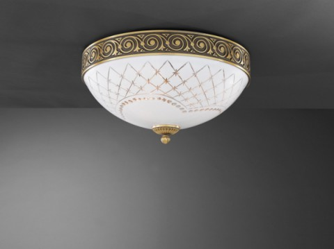 Brass ceiling light with white engraved glass 40 cm