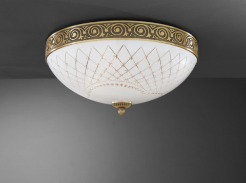 Brass ceiling light with white engraved glass 50 cm