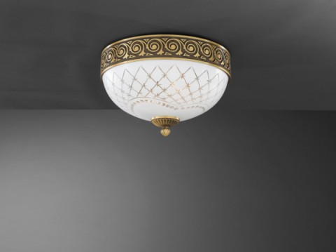 Brass ceiling light with white engraved glass 30 cm