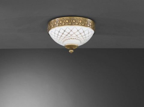 Brass ceiling light with white decorated glass 24 cm