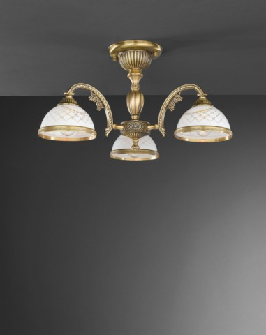 3 lights brass chandelier with white engraved glass