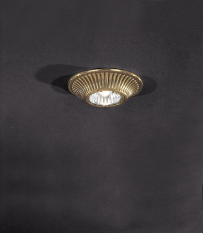 Traditional golden brass recessed ceiling spotlight