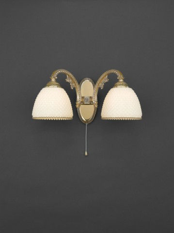 Golden brass wall sconce with ivory glass 2 lights