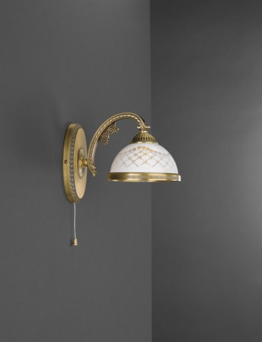 1 light brass wall sconce with white engraved glass