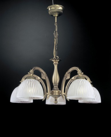 Brass chandelier with white striped glass 5 lights