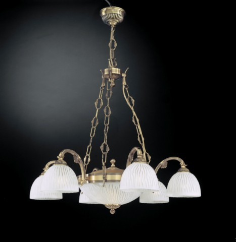 Classic brass chandelier with white striped glass 8 lights