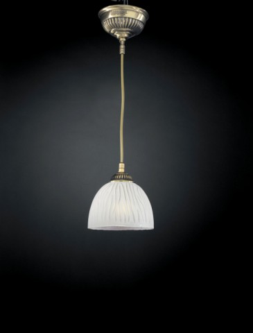Brass pendant light with white striped blown glass 1 light 16 cm
