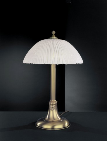 Brass table lamp with white striped glass