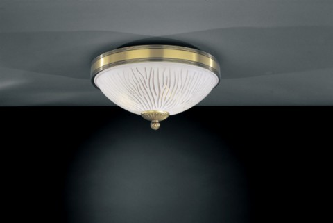 Brass ceiling light with white striped glass 30 cm