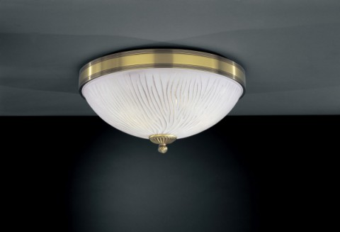 Brass ceiling light with white striped glass 40 cm