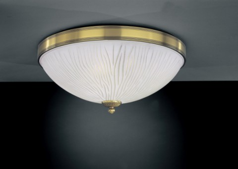 Brass ceiling light with white striped glass 50 cm