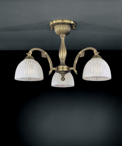 3 lights brass chandelier with white striped glass