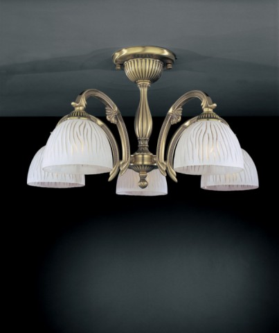 5 lights brass chandelier with white striped glass