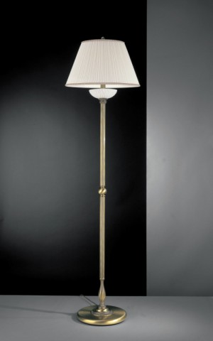 Brass floor lamp with white striped glass and fabric shade