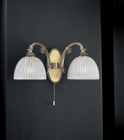 Brass wall sconce with white striped glass 2 lights
