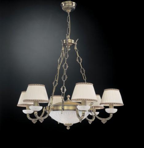 Stehlampe aus messing und wei e glas gestreifte mit lampenschirm reccagni store - Kronleuchter mit lampenschirm ...