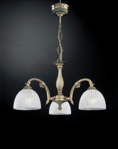 Brass chandelier with white striped glass 3 lights