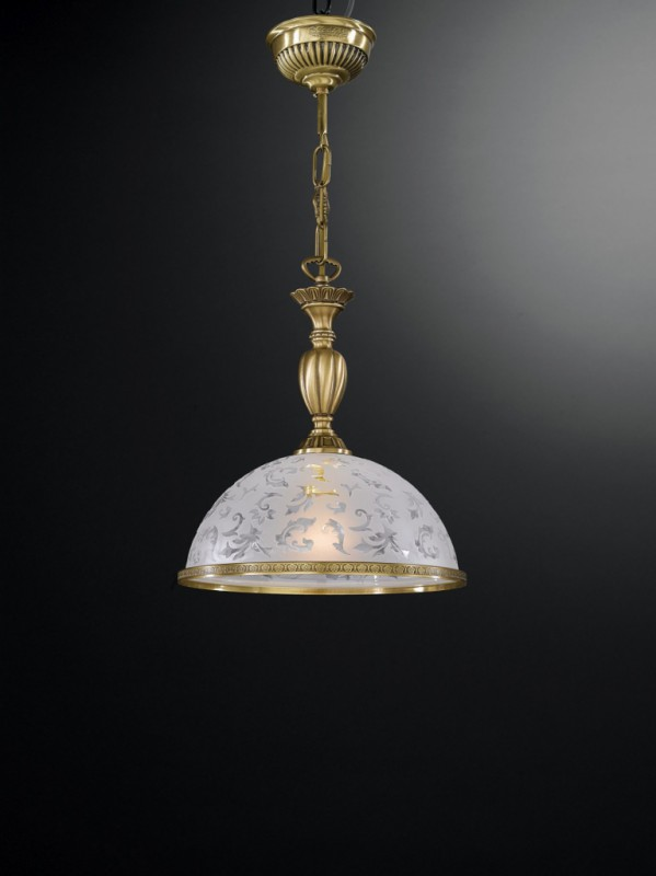 brass pendant light with frosted decorated glass 28 cm recca