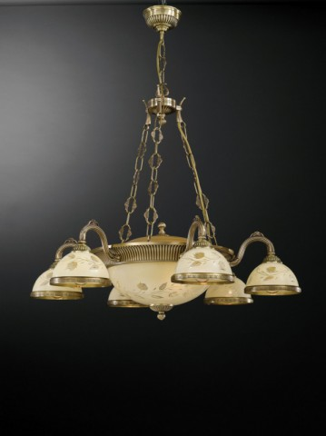 9 lights brass chandelier with decorated cream glasses
