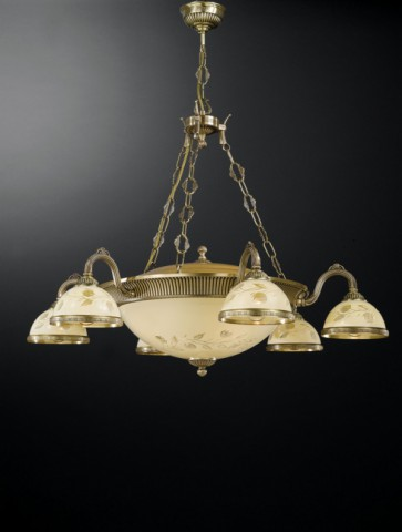 10 lights brass chandelier with decorated cream glasses