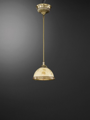 Brass pendant light with decorated cream glass 16 cm