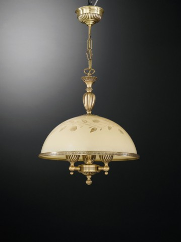 3 lights brass pendant lamp with cream glass 38 cm