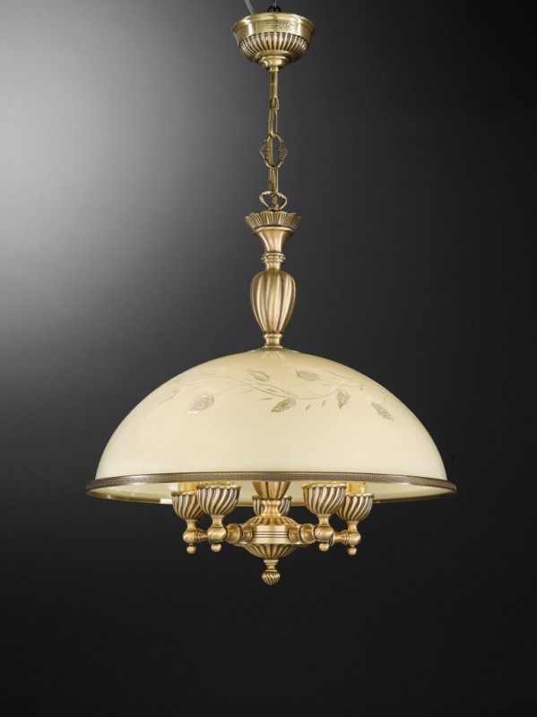 5 lights brass pendant lamp with cream glass 48 cm