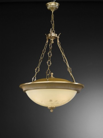 4 lights brass and cream engraved glass pendant lamp