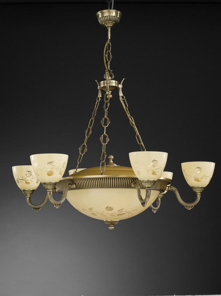 Lampadario in ottone con vetro molato crema a 5 luci verso alto ...