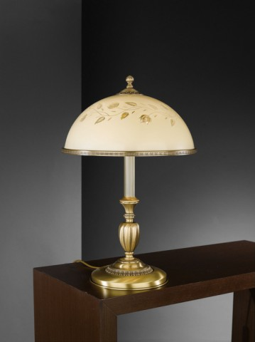 Large brass table lamp with decorated cream glass