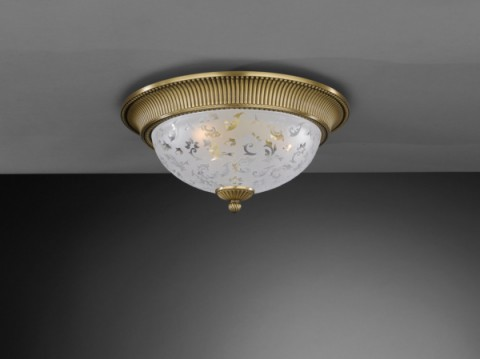 Brass ceiling light with frosted decorated glass 40 cm