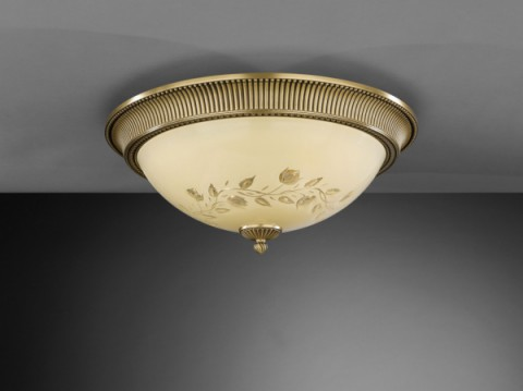 Brass ceiling light with cream engraved glass 50 cm