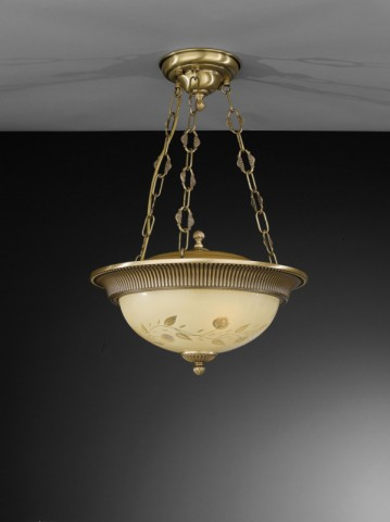 3 lights brass and cream engraved glass pendant lamp