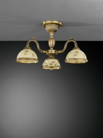 3 lights brass chandelier with decorated cream glasses