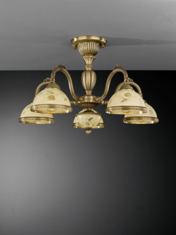 5 lights brass chandelier with decorated cream glasses