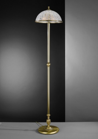 Brass floor lamp with decorated frosted glass shade