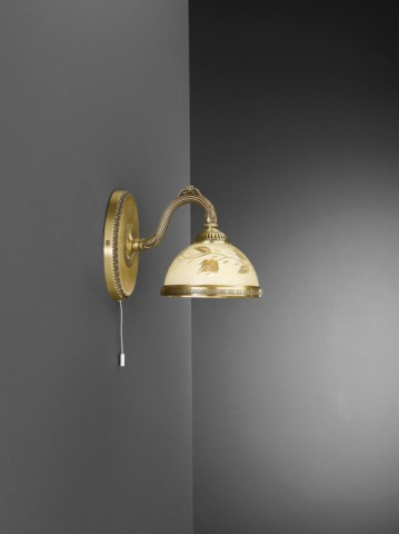 1 light brass wall sconce with cream glass